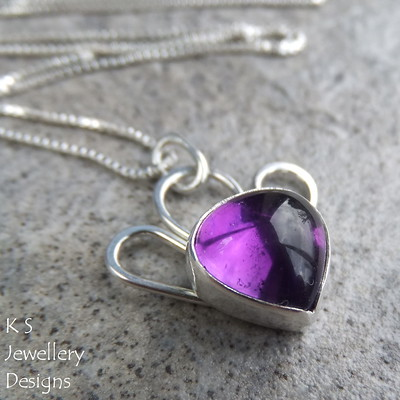 Amethyst Sterling Silver Tail Feathers Pendant