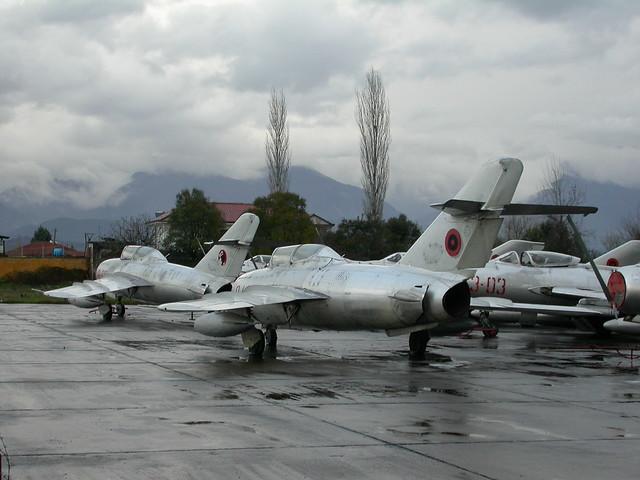 Shenyang FT-5's 8-08 c/n 551308 and 8-14 c/n 551224. ex Albanian-AF.  (Stored Tirana-Rinas, 14-03-2013)