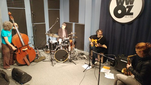 James Singleton, Doug Garrison, Jonathan Freilich, and Aurora Nealand perform on the Kitchen Sink with host David Kunian Day 1 of Spring Pledge Drive- March 14, 2017