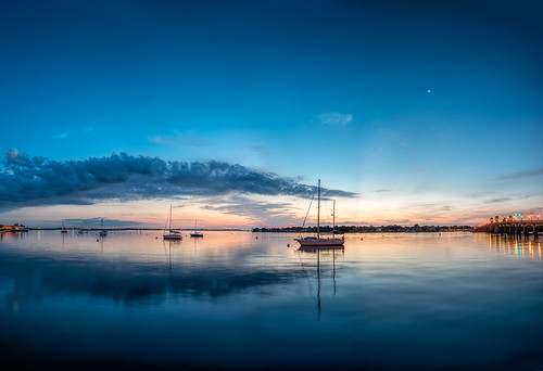 astronomy blue boat cloud color dawn features florida manmade moon ocean reflection sailboat sky staugustine sunrise usa water watercraft weather bridge fort unitedstates panorama pwpartlycloudy day edrosackcom