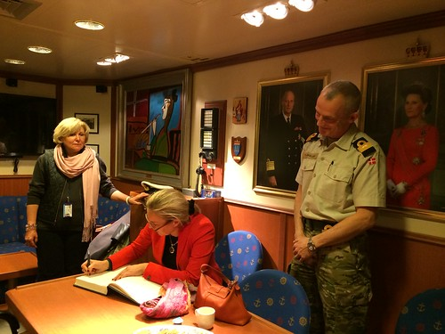 The Special Coordinator of the OPCW-UN Joint Mission signed the guest book on board the Danish frigate, HDMS Esbern Snare at the port of Limassol earlier this month. | by for the elimination of Syrian chemical weapons