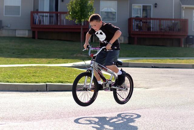 My son, Joshy doing bike stunts