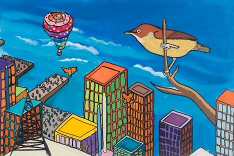 "Upper West Side with Bird and Hot Air Balloon (16"" x 24"" acrylic on canvas)"
