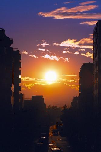 street city winter sunset cloud sun tokyo evening cityscape suburb