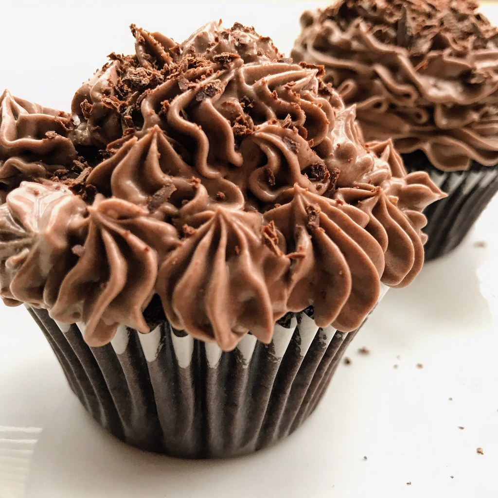 Homemade dark chocolate cupcakes with cream and chocolate … | Flickr