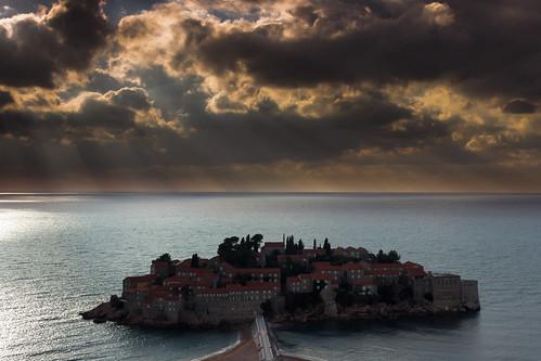 sunset sunlight night clouds mediterranean cloudy stefan rays islet montenegro sveti shafs