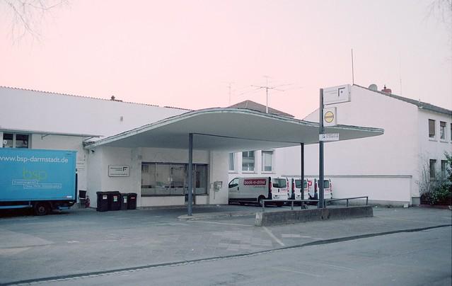 former gas station, now car sharing point - im niederfeld, darmstadt 2015