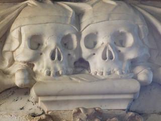 two draped skulls