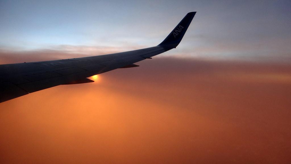 Sunset during flight to SIngapore