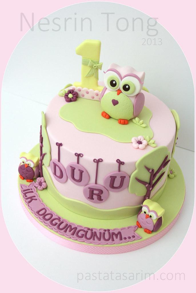 Swell Owl First Birthday Cake Duru Cake By Nesrin Tong Flickr Funny Birthday Cards Online Hendilapandamsfinfo