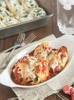 Spinach, Artichoke, and Feta Stuffed Shells | by Tracey's Culinary Adventures
