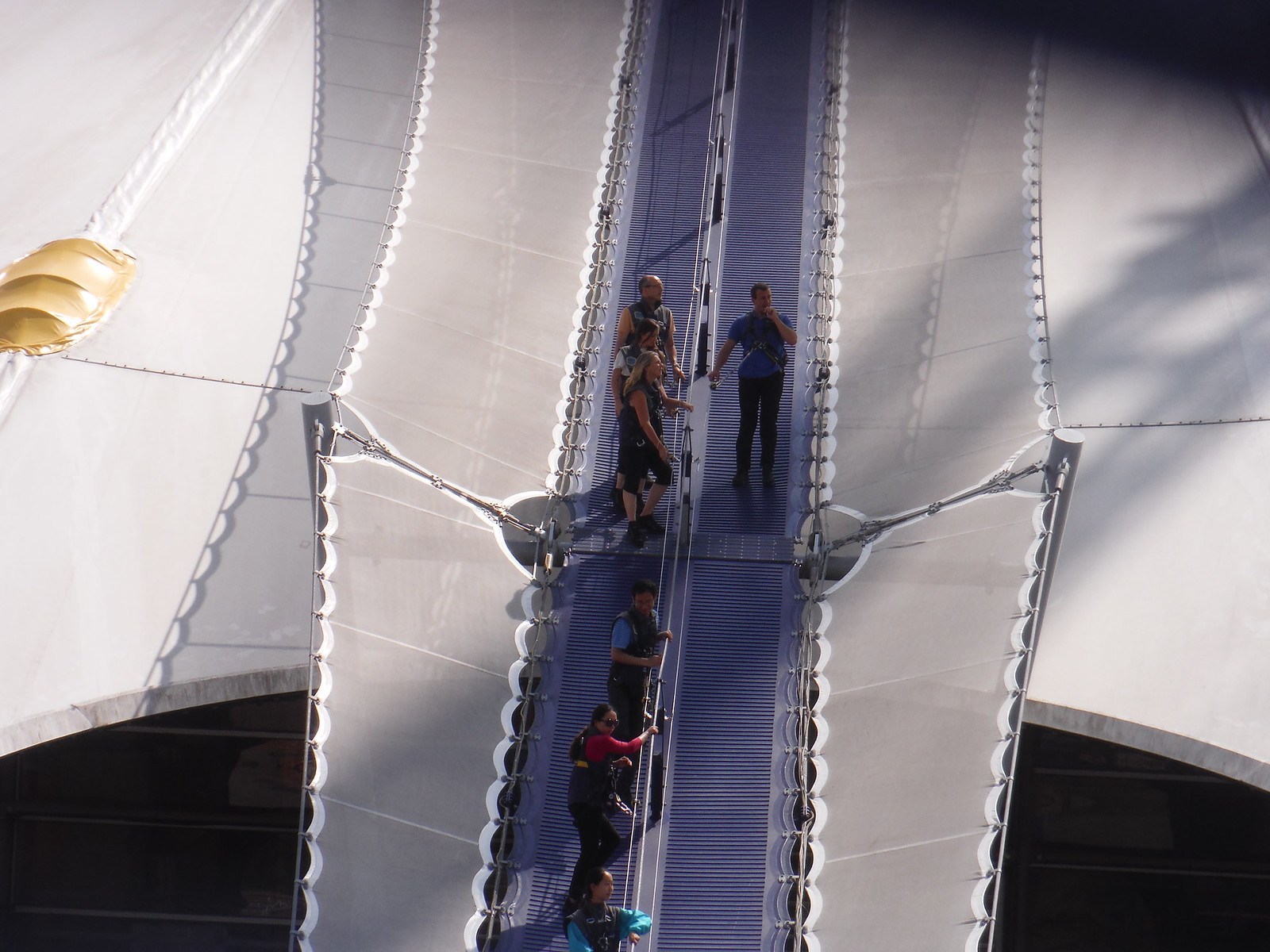 In Full Harness on the roof of the O2-Dome SWC Short Walk 21 - The Line Modern Art Walk (Stratford to North Greenwich)