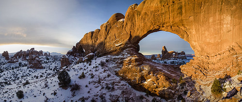 winter snow sunrise landscape utah desert arches moab geology archesnationalpark turretarch northwindowarch wishiwsthr bradmcginleyphotography