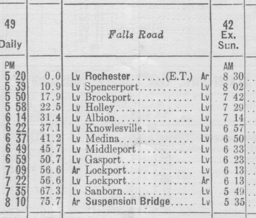NYC 1955 Falls Road Schedule