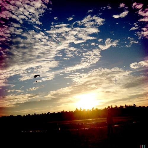sunset clouds skydiving blueskies canopy parachute sne skydivenewengland
