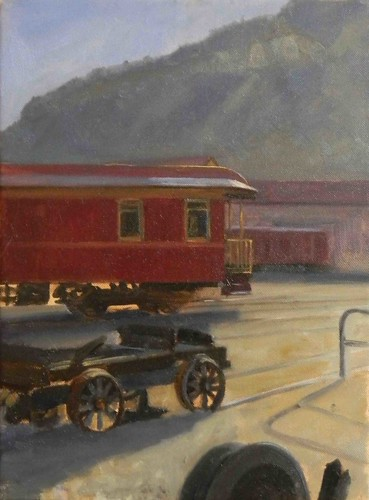Durango Trainyard- oil on canvas, 12