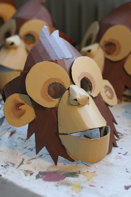 Monkey mask, painted