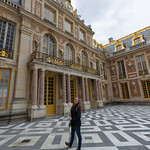 Emily in the courtyard, Versailles