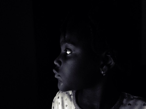 Black Girl in the Dark Bedtime Light Shadows Black and White | by stevendepolo