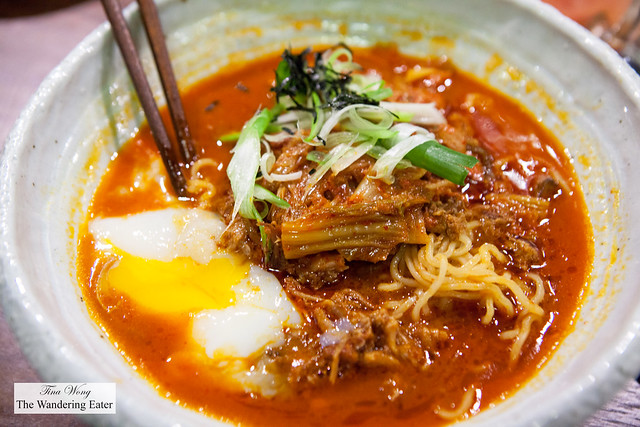 Kimchi Ramen topped with a poached egg