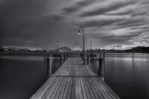 longexposure arizona blackandwhite bw usa lake storm blancoynegro nature water phoenix weather night dark landscape lights pier ramp noir waves cloudy lightning