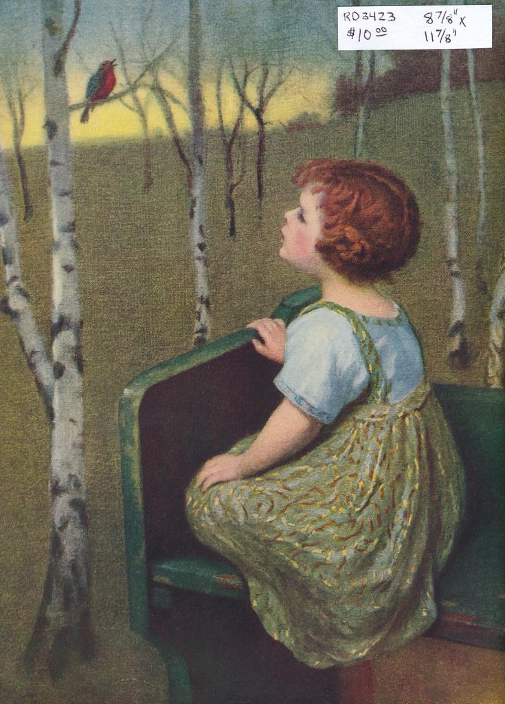 RD3423 Samuel Schiff Co. N.Y. - Young girl admiring a Robin