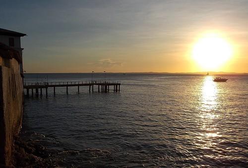 ocean sunset sea sky sun pier
