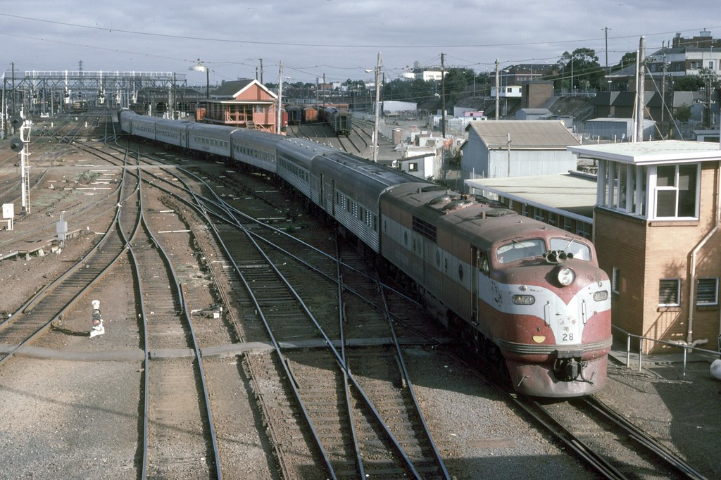GM28 at Spencer Street Station with the Southern Aurora by Alan Greenhill