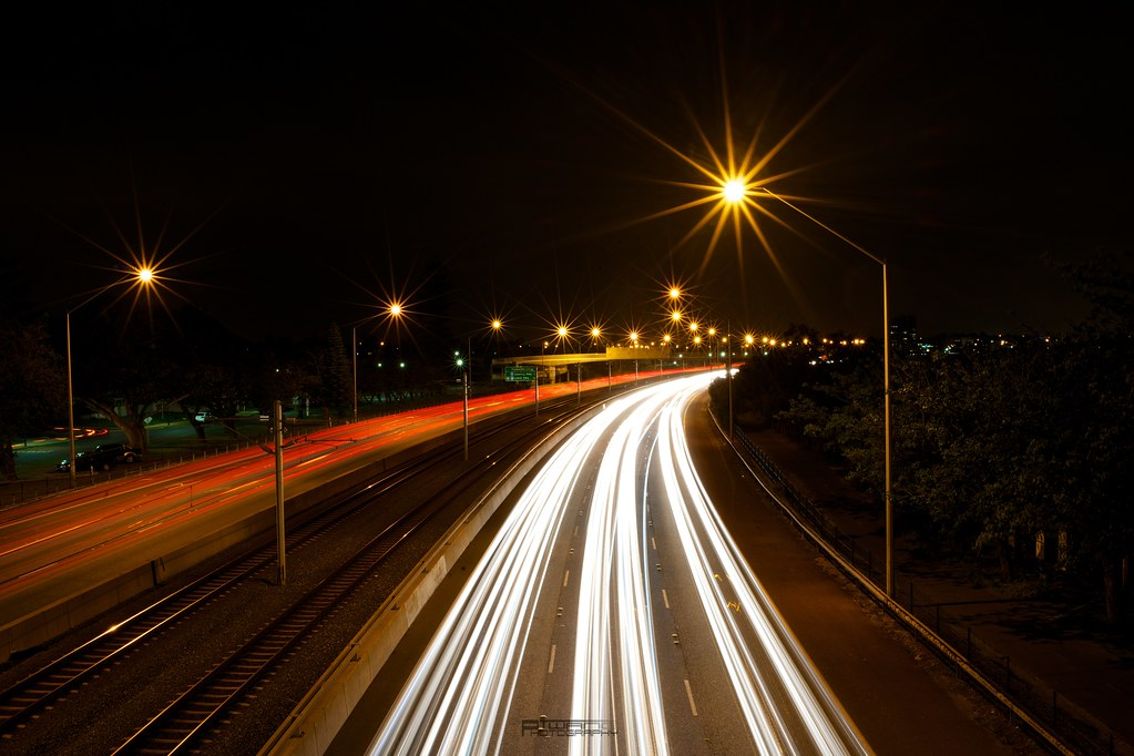 Traffic | Night time traffic on Kwinana Freeway along the ba