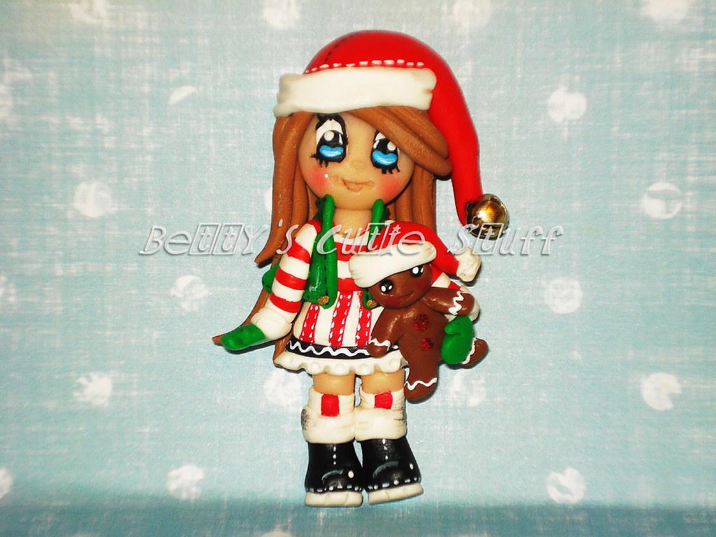 Polymer Clay Christmas Charms.Christmas Cheer Girl Polymer Clay Bead Charm Bow Cen