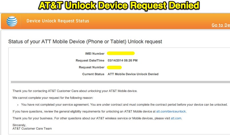 AT&T Unlock Device Request Denied | Uploaded with Skitch