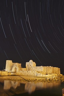Star Trails above Sidon Sea Castle