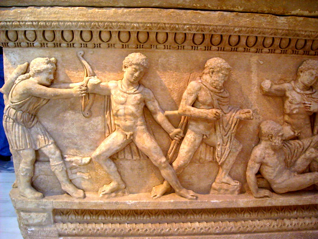 Detail of a marble attic sarcophagus, found at Ayios Ioannis, Patras, Peloponnese AD 150-170