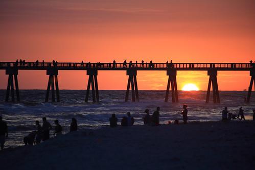 park city sunset beach pier florida panama