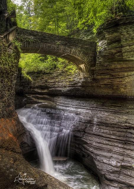 Rainbow Falls Bridge - Watkins Glen State Park