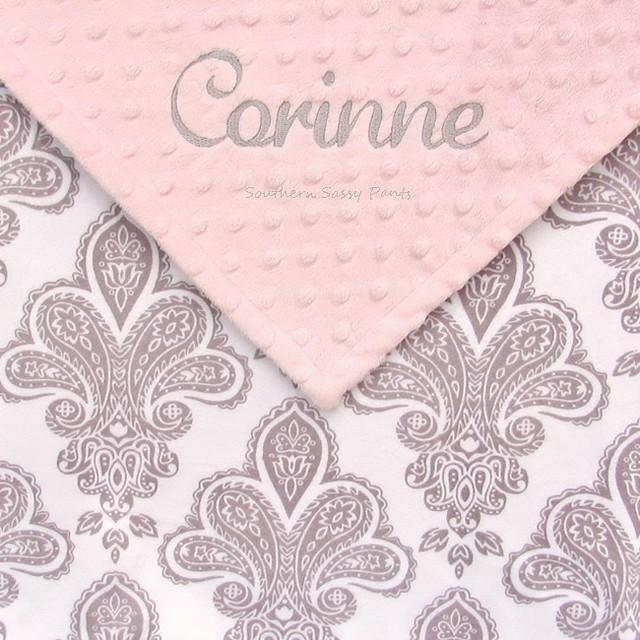Custom Gray and White Damask Minky Blanket