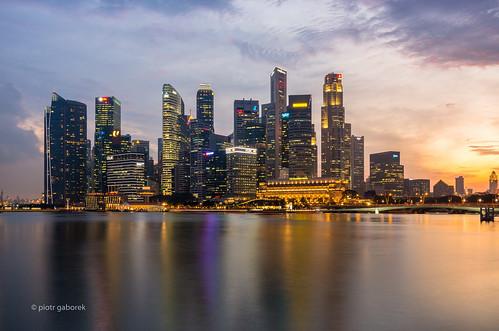 singapore skyline city pamorama sunset longexposure light evening buildings architecture reflection southeastasia asia travel trip tourism adventure outdoors colours skyscrapers pietkagab piotrgaborek pentax pentaxk5ii