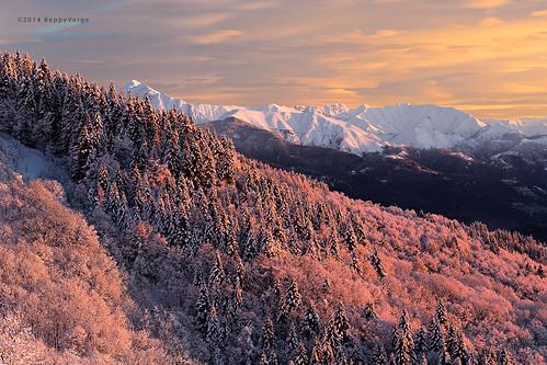 pink snow alps sunrise dawn alba rosa neve inverno alpi colline mottarone pendii mygearandme mygearandmepremium beppeverge