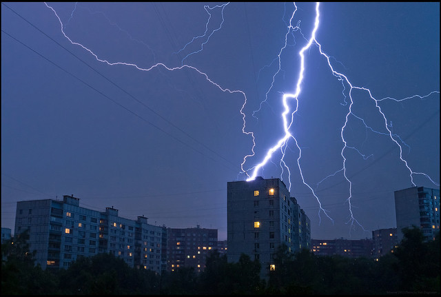 Moscow. Thunderstorm in Teply Stan district.