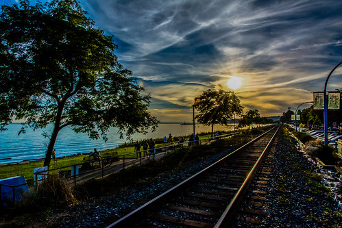scenery scene clouds vista eastbeach whiterock britishcolumbia canada beach tracks promenade sunset cloud rail railway ocean water pacific nikon nikkor 1685mmf3556vr d7100 scenicsnotjustlandscapes