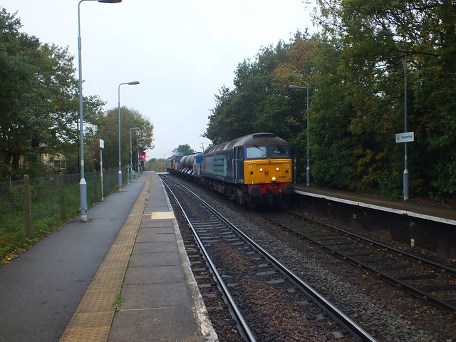 57009 & 57004 T&T the Sandite train through Westerfield, on the first run to Lowestoft. 10.11, 05 11 2013