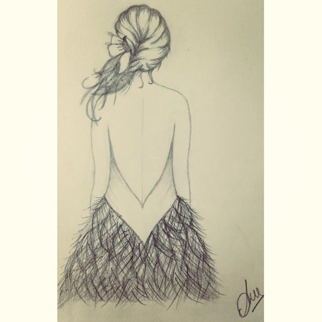 De Dibujar Va La Cosa Vestido Chica Trenza Plumas
