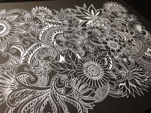 Botanical zentangle drawings