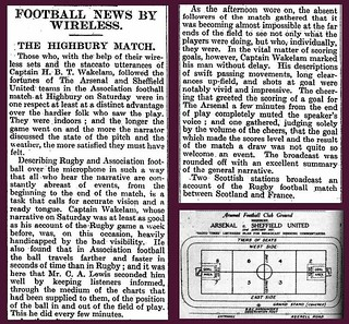 22nd January 1927 - First radio commentary of a football match - Arsenal v Sheffield United | by Bradford Timeline