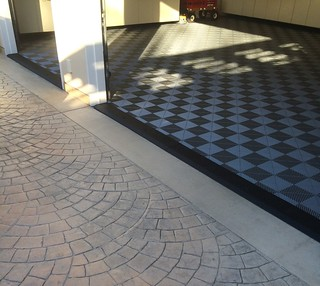 Garage with Tile Flooring & Black Diamond Plate Transition Strip | by DiamondBack Truck Covers