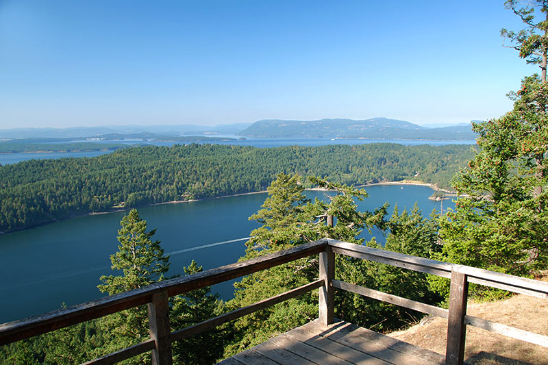 View over Bedwell Harbour from Mount Norman Park, South Pender Island, Gulf Islands National Park, British Columbia, Canada