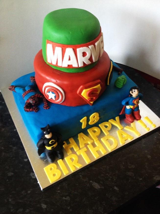 Peachy Marvel Birthday Cake Marvel Themed Birthday Cake For My Co Flickr Funny Birthday Cards Online Elaedamsfinfo