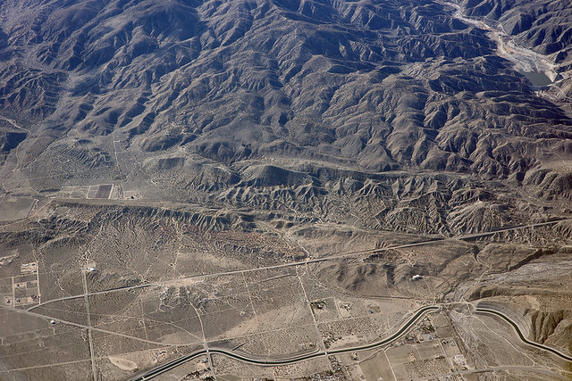 Aerial view of the San Andreas Fault and the California Aqueduct, Littlerock, Los Angeles County, California