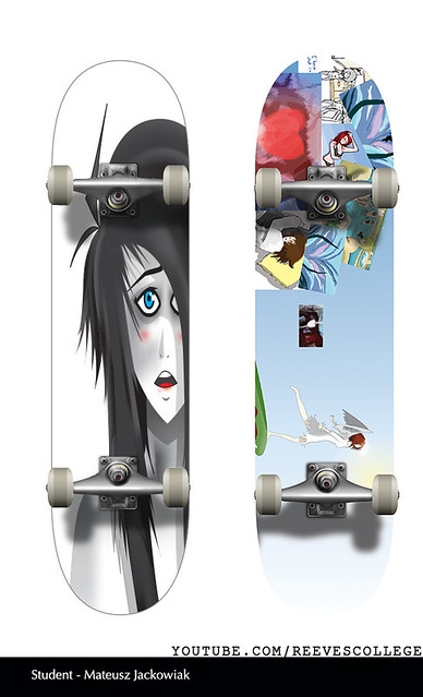 Skateboard Deck Design Adobe Illustrator CS6 by Reeves College Student Mateusz J
