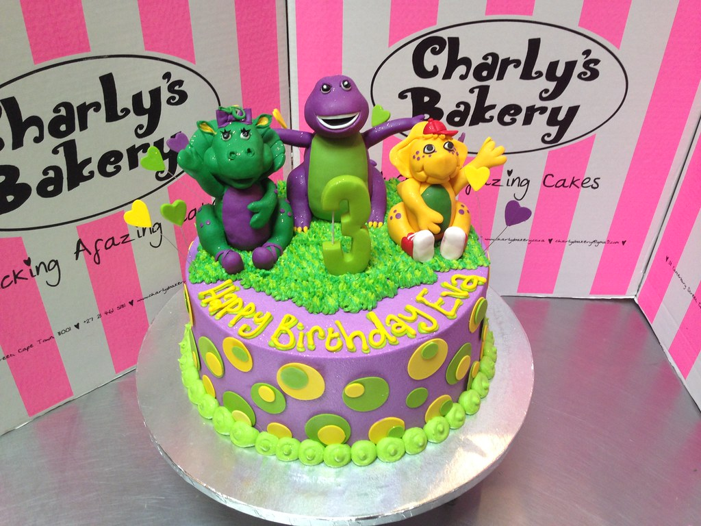 Magnificent Barney Cake Toppers On Birthday Cake With Polka Dots Flickr Personalised Birthday Cards Xaembasilily Jamesorg